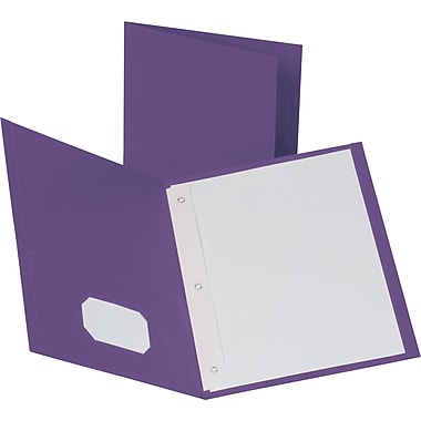 Staples® School Grade 2 Pocket Folder with Fasteners, Purple, 25/Box