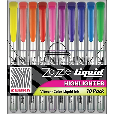 Zebra® Zazzle Liquid Highlighters, Chisel Tip, Assorted, 10/Pack
