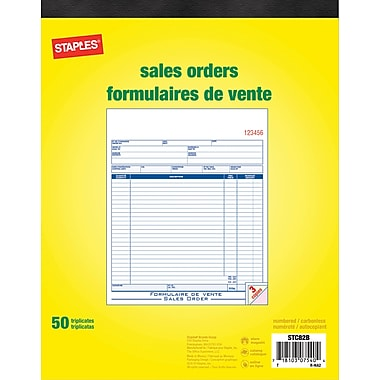 Staples® Bilingual Sales Order Form, STC82E, Triplicates, Carbonless, Staple Bound, 8