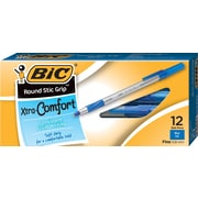 BIC® Round Stic Grip Ballpoint Pens, .8mm Fine Point, Blue, 12/Pk (13903/GSFG11BL)