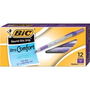 BIC® Xtra Comfort Round Stic Grip™ Ballpoint Pens, Medium Point, Purple, Dozen