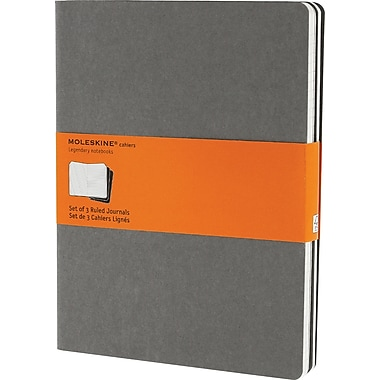 Moleskine Cahier Journal, Set of 3, Extra Large, Ruled, Pebble Grey, Soft Cover, 7-1/2in. x 10in.
