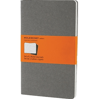 Moleskine Cahier Journal, Set of 3, Large, Ruled, Pebble Grey, Soft Cover, 5in. x 8-1/4in.