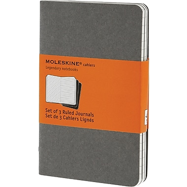 Moleskine Cahier Journal, Set of 3, Pocket, Ruled, Pebble Grey, Soft Cover, 3-1/2in. x 5-1/2in.