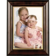 Walnut and Black Wood 5 x 7 Picture Frame - Gold Line