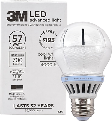 3M A-19 LED Flood Light Bulb, Cool White, Dimmable 126112