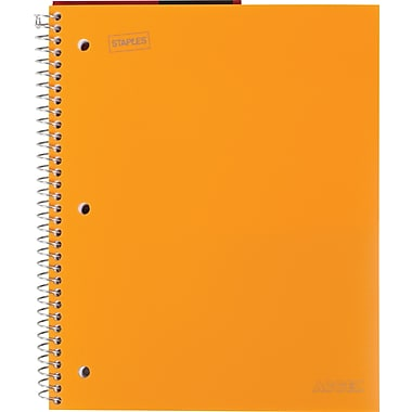 Staples® Accel Durable Poly Cover Notebook, Wide Ruled, Orange, 8-1/2