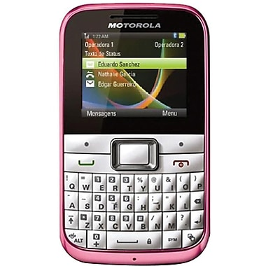 Motorola MOTOKEY Mini EX108 Unlocked GSM Cell Phone, White/Pink