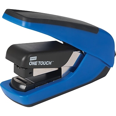 Staples One-Touch™ CX-4 Compact Flat-Stack Quarter Strip Stapler, 20-Sheet Capacity, Blue