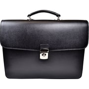 Royce Leather 'Kensington' Double Gusset Briefcase, Black