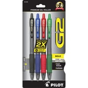 Pilot G2 Premium Retractable Gel Roller Pens, Bold Point, Assorted, 4/Pack (31255)