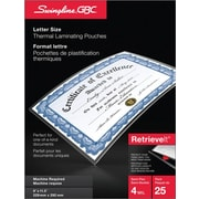"""Swingline® RetrieveIt™ Thermal Laminating Pouch, 9"""" x 11-1/2"""", 4 mil, Letter, 25/Pack"""