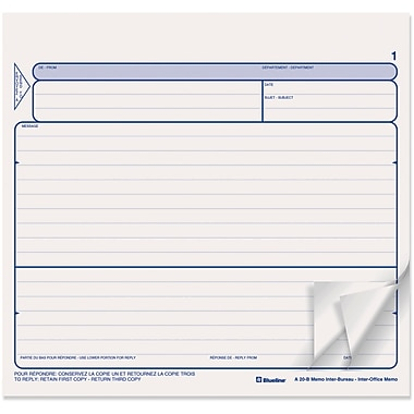 Blueline® Inter-Office Memo Snap Sets, A20B, Triplicates, Carbonless, 8-1/2