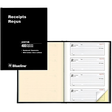 Blueline® Deluxe Receipt Form Book, Carbon, 10-3/4