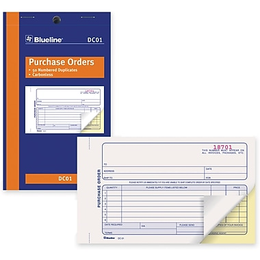 Blueline® Purchase Order Form, DC01, Duplicates, Carbonless, Staple Bound, 4-1/4
