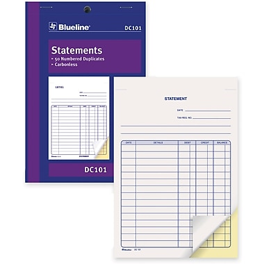 Blueline® Statements Book, DC101, Duplicates, Carbonless, Staple Bound, 5-3/8