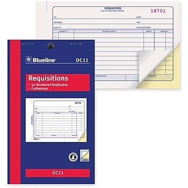 Blueline® Requisition Forms, DC11, Duplicates, Carbonless, Staple Bound, 4-1/4