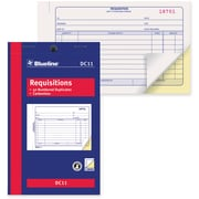 "Blueline® Requisition Forms, DC11, Duplicates, Carbonless, Staple Bound, 4-1/4"" x 7"", English"