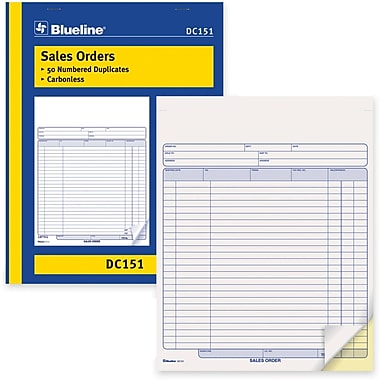 Blueline® Sales Order Form, DC151, Duplicates, Carbonless, Staple Bound, 8-1/2