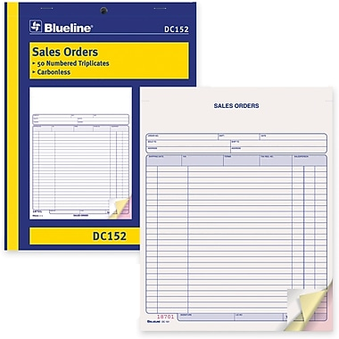 Blueline® Sales Order Form, DC152, Triplicates, Carbonless, Staple Bound, 8-1/2
