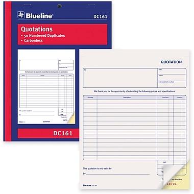 Blueline® - Formulaires de soumission, DC161, duplicatas, autocopiants, reliés par agrafes, 8 1/2 po x 11 po, anglais