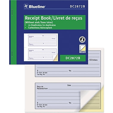 Blueline® Receipt Book, DC2872B, Duplicates, Carbonless, Staple Bound, 5-1/2