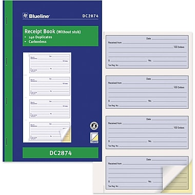 Blueline® Receipt Book, DC2874, Duplicates, Carbonless, Staple Bound, 11