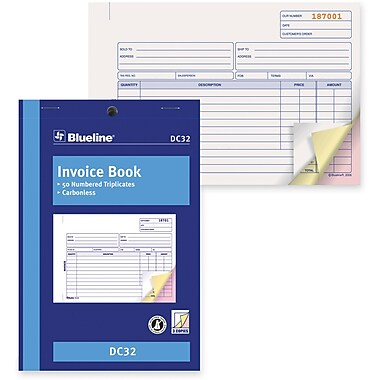 Blueline® Invoice Book, DC32, Triplicates, Carbonless, Staple Bound, 5-3/8