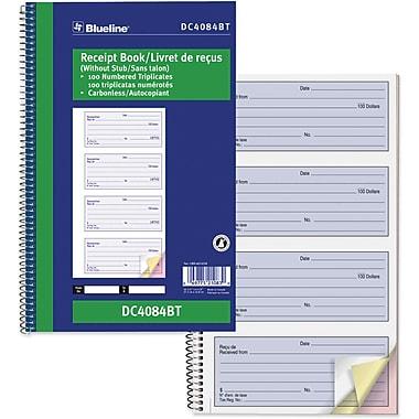 Blueline® - Livret de reçus, DC4084BT, triplicatas, autocopiant, reliure à spirale, 10 5/8 po x 6 3/4 po, bilingue, 4-Up