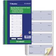 "Blueline® Receipt Book, DC4084BT, Triplicates, Carbonless, Spiral Bound, 10-5/8"" x 6-3/4"", Bilingual, 4-Up"