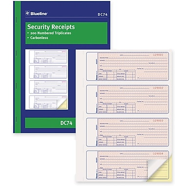 Blueline® Security Receipt Book, DC74, Duplicates, Carbonless, Staple Bound, 11