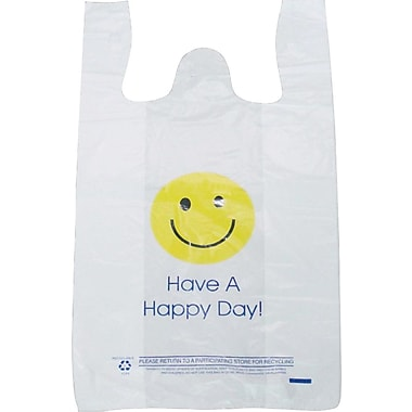 Plastic T-Shirt Bag, in.Have A Happy Dayin. printed, Medium, 1,000/Pack
