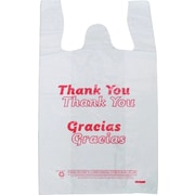 Plastic T-Shirt Bag, in.Thank Youin. & in.Graciasin. printed, Medium, 1,000/Pack