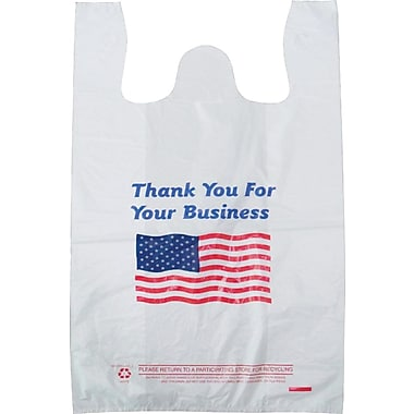 Plastic T-Shirt Bag, in.Thank You For Your Businessin. printed, Medium, 1,000/Pack