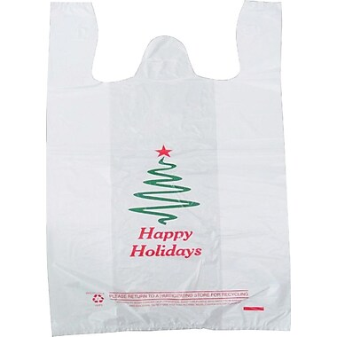 M2C Plastic 21in.H x 11.5in.W x 6in.D Happy Holidays Printed Shopping Bags, White, 1000/Pack