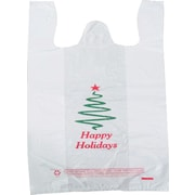 Plastic T-Shirt Bag, Happy Holidays printed, Medium, 1,000/Pack