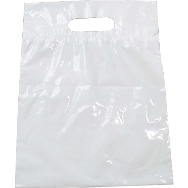 Plastic Shopping Bag, Glossy White, 15in. L x 12in. W x 3in. D, 500/Pack