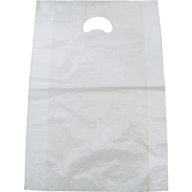 Plastic Merchandise Bag, Glossy White, 24in. L x 16in. W x 3in. D, 500/Pack