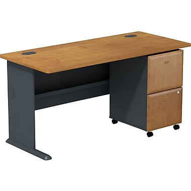 Bush Cubix 60in.W Desk w/ 2 Dwr Mobile Ped (F/F) - Natural Cherry/Slate Gray, Fully assembled