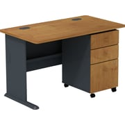 Bush Business Cubix 48W Desk with 3Dwr Mobile Pedestal, Natural Cherry/Slate