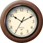 FirsTime® 11 Round Wall Clock, Walnut