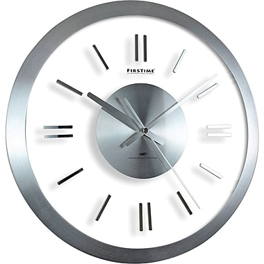 FirsTime® Modish Metal Whisper 14in. Round Wall Clock, Silver