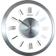 "FirsTime® Modish Metal Whisper 14"" Round Wall Clock, Silver"