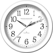 "FirsTime® White Whisper 11"" Round Wall Clock, White"