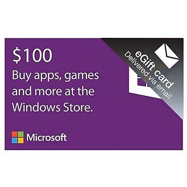 Microsoft Windows Store Gift Card $100 for Windows (1 User) [Download]