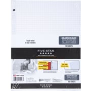Five Star® Reinforced Filler Paper, White, Graph Rule, 8-1/2 x 11, 100 Sheets