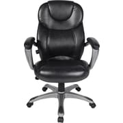 Comfort Products 60-582105 Granton Leather Executive Chair with Adjustable Lumbar, Fixed Arms, Black/Pewter