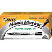 BIC® Magic Marker® Brand Dry Erase Markers, Bullet Tip, Black, Dozen