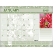 Visual Organizer 2015 Recycled Antique Floral 1-Page-Per-Month Calendar, Jan.-Jan., Desk Pad, 22 x 17