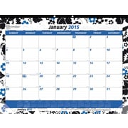2015 Brownline® Monthly Desk Pad, Colorful Blossom Design, 22 x 17